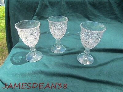 3 Westmoreland ENGLISH HOBNAIL CLEAR (ROUND BASE) WATER STEMS GLASSES TUMBLERS