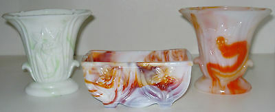 THREE (3) Vintage Akro Agate Lily Vase Colored Planters ~ One green + Two Orange