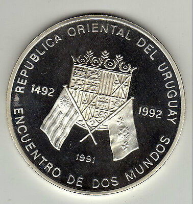 1991 Uruguay Large Silver Proof Ibero-American Series-500 years-2 worlds