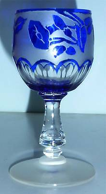 French Bohemian Blue Cut to Clear Art Glass Wine