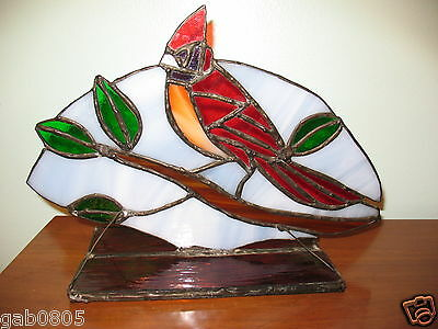 Handmade Stained Glass Red Cardinal Tabletop Decor