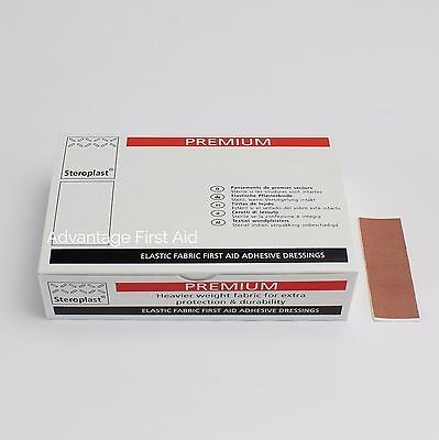 Premium Elastic Fabric First Aid Sticking Plasters (100) 7.5cm x 2.5cm  Oblong