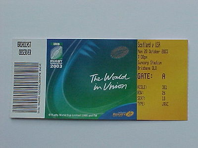 2003 Rugby World Cup RWC - Scotland v USA - Complete Ticket - MINT CONDITION