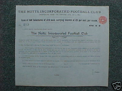 1910 Notts County FC Share Certificate STUNNING &UNIQUE