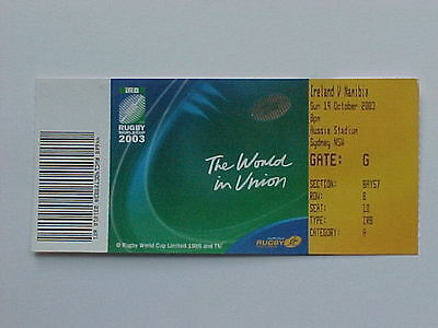 2003 Rugby World Cup RWC - Ireland v Namibia - Complete Ticket - MINT CONDITION