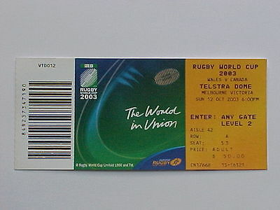 2003 Rugby World Cup RWC - Wales v Canada - Complete Ticket - MINT CONDITION