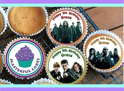 24 Personalised Harry Potter Edible Rice Paper Cup Cake Toppers
