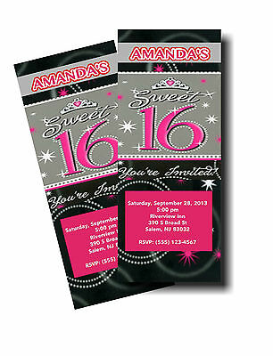 10 SWEET SIXTEEN 16 BIRTHDAY PARTY INVITATIONS ENVELOPES INCLUDED