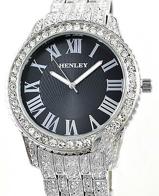 Henley Mens Real Crystal Bling Silver Tone Watch with Mega BIG Black Dial NEW