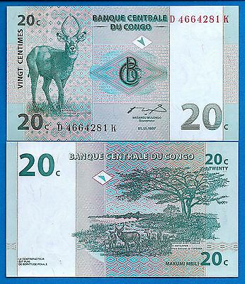 Congo P-83  20 Centimes Year 1997 Uncirculated FREE SHIPPING