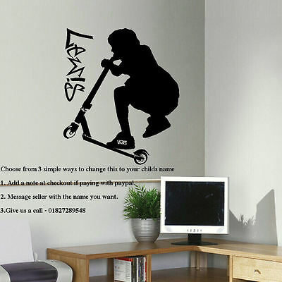 Extra Large Personalised Stunt Trick Scooter Child Bedroom Wall Sticker Decal