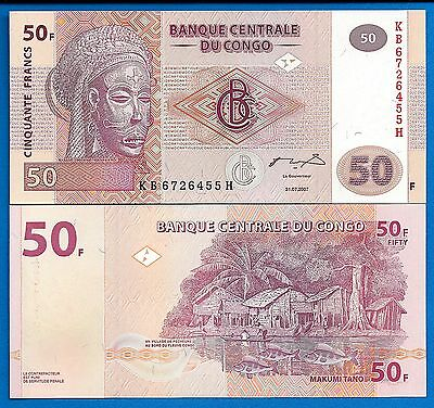 Congo P-97 50 Francs Year 2007 Village Scene Uncirculated Banknote