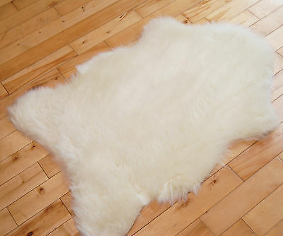 Fluffy New Plain Ivory Cream Sheep skin Rug Soft Faux Fur Fake Mats Bedroom Rugs