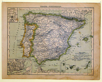 Carta geografica antica SPAGNA PORTOGALLO SPAIN PORTUGAL 1883 Old map