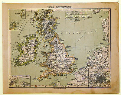 Carta geografica antica GRAN BRETAGNA UNITED KINGDOM Stieler 1883 Old map