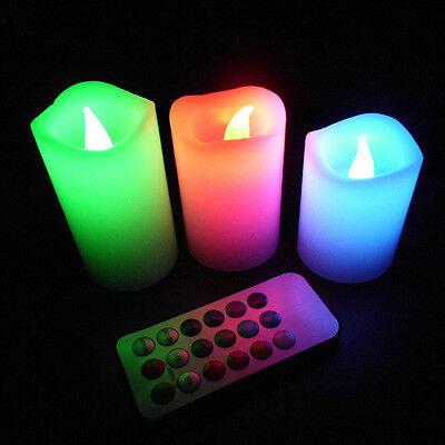 Flickering Colorful Flameless LED Tea Light Battery Time Remote Control Candles
