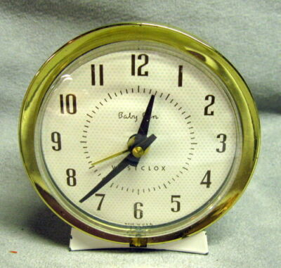 Vintage Baby Ben Westclox Wind Up Alarm Clock White Face