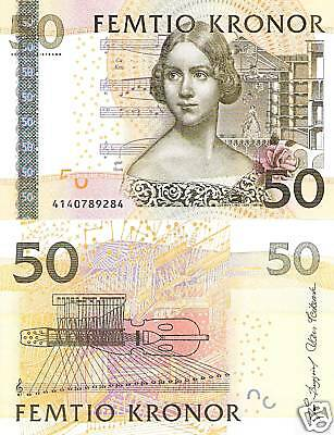 SWEDEN 50 Kronor Banknote World Paper Money Currency UNC Europe Note p64a Bill