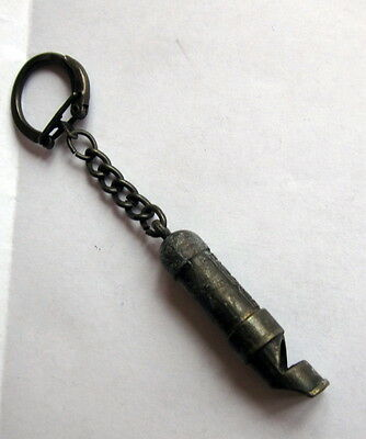 Antique Vintage Pionier Metal Pewter Whistle Key Chain