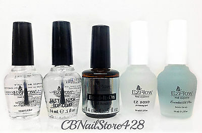 EzFlow Nail Essential- Pick Any Preps, Top Coats and Treatments- 0.5 fl.oz/14ml