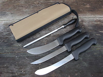 Forsyth boning, skinning, filleting knives, steel, canvas cover, Fantastic set!!