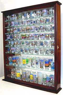 Shadow Box Cabinet to hold 110 Shot Glasses display Case Wall Mounted
