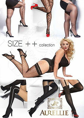 Mock Suspender Plus Size Pantyhose 20 40 Denier Patterned Tights Hosiery XL- XXL