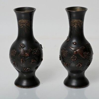 Pair Of Antique Japanese Meiji Period Bronze Bud Vases With Overlay Decoration