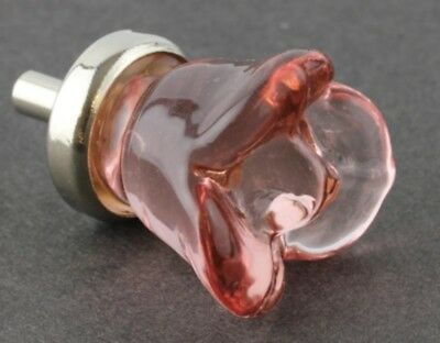 Pink Glass Flower Rose Cabinet Knob Drawer Pull 4
