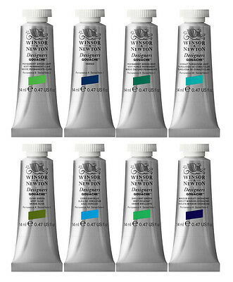 Winsor & Newton Designers Gouache - BLUES & GREENS - 14ml tubes CLEARANCE SALE!