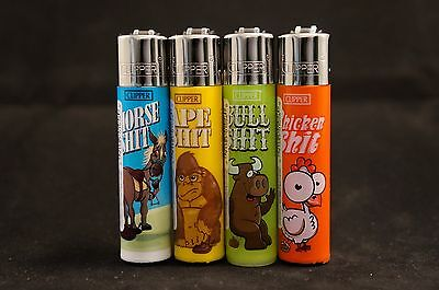 4 pcs New Refillable Clipper Full Size Lighters Animals Design