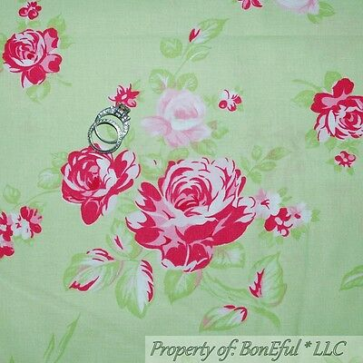 BonEful FABRIC FQ Cotton Quilt Green Pink White VTG Rose Flower Large Garden OOP