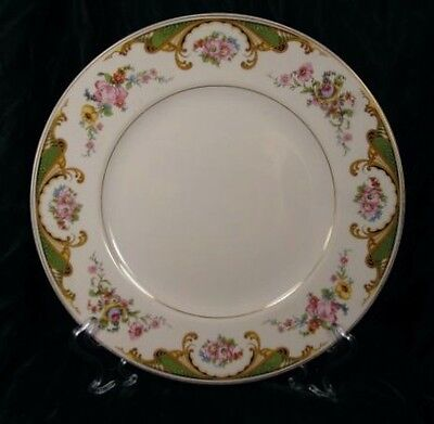 Syracuse China Dinner Plate Green Scrolls & Flowers Porcelain Vintage (O)