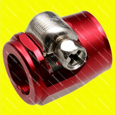 15MM JIC AN6 6AN STAINLESS STEEL / NYLON BRAIDED HOSE CLAMP COVER FINISHER RED