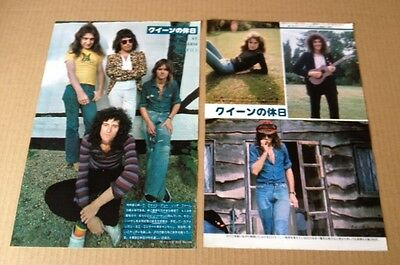 1975 Queen 3pg 5 photo JAPAN mag feature / clippings cuttings freddie Mercury