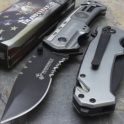 "8.25"" MTECH USMC SEMPER FI SPRING ASSISTED TACTICAL FOLDING KNIFE Blade Pocket"