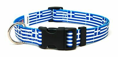 Greece Greek Flag Pet Dog Collar by PatriaPet for Small Medium Large Dogs