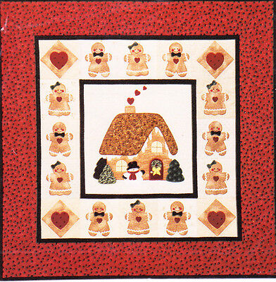 A Gingerbread Christmas - cute applique & pieced wall quilt PATTERN