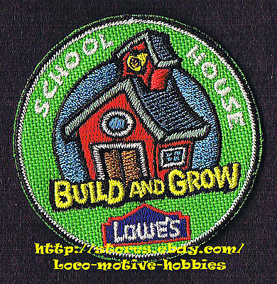 LMH PATCH Badge  2010 SCHOOL HOUSE Old Time Red  LOWES Build Grow Kid's Clinic
