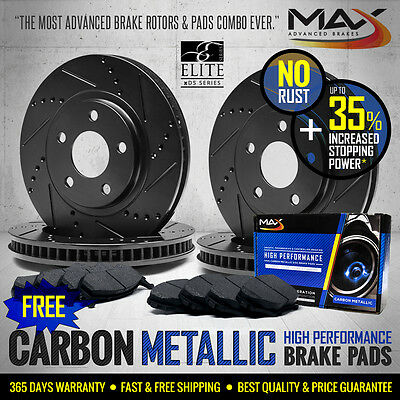 [FRONT+REAR KIT] [BLACK] Slotted Drilled Brake Rotors AND Carbon Metallic Pads
