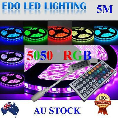 Waterproof 5050 RGB 5M 300 LED SMD LEDS Strip Light 12V + 44 KEY IR Controller