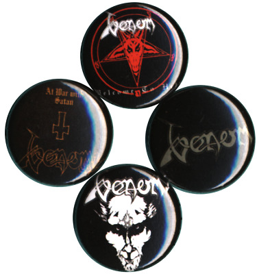 Venom Set of 4 Buttons-Pins-Badges Black Metal Welcome to Hell Thrash nwobhm