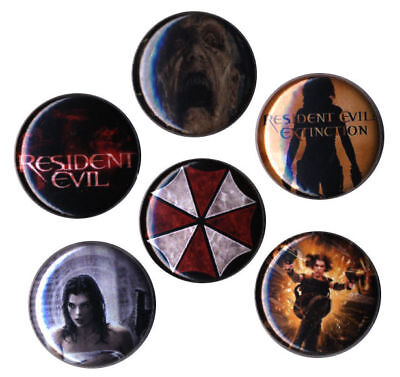 Resident Evil Movies Set of 6 Buttons-Pins-Badges | Apocalypse | Afterlife