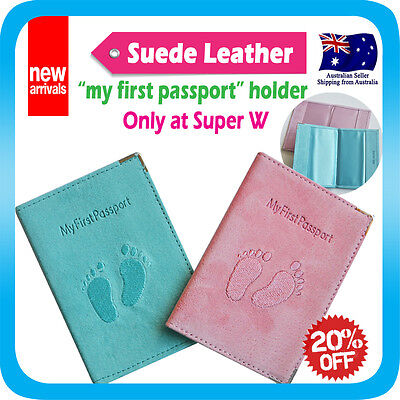 My first passport Holder Suede Leather Cover Case Protector Travel Wallet
