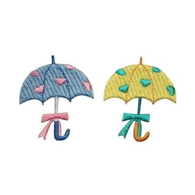 ID 3371AB Set of 2 Heart Umbrella Patch Rain Love Embroidered Iron On Applique