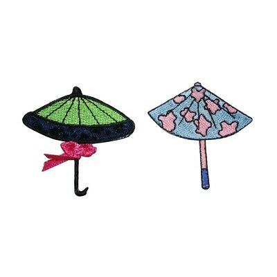 ID 3372AB Set of 2 Fancy Umbrella Patch Rain Cover Embroidered Iron On Applique