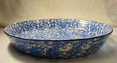 Vintage Pottery Stangl Blue Spongeware Town and Country Pie Plate