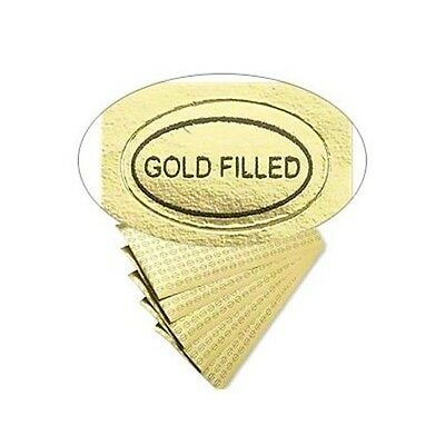 """500 Peel Off Adhesive LABELS Tags ~ Oval 1/2"""" x 5/16""""  Marked """"Gold Filled"""""""
