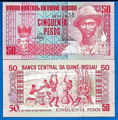 Guinea-Bissau P-10 Fifty Pesos Year1990 Uncirculated Banknote
