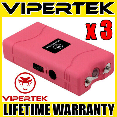 (3) VIPERTEK PINK VTS-880 Mini Stun Gun Self Defense Wholesale Lot